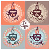 Cup of coffee. Set of cup of coffee  illustration in different colors Stock Photo