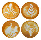 Cup of coffee. Set of leaf , tulip , bird , red indian latte art , coffee isolated on white background stock image
