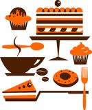 Cup of coffee with several desserts and pastry Stock Images