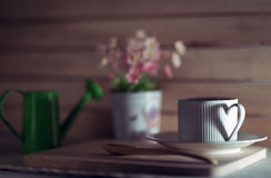 Cup of coffee. With shadow of heart Stock Photos
