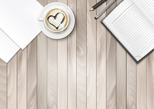 Cup of Coffee With Shape Heart And Notebook Royalty Free Stock Photography