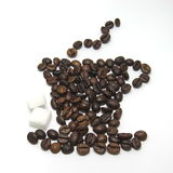 Cup of coffee shape made with coffee beans Stock Photo