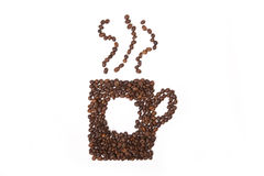 Cup of coffee shape made of coffee beans Stock Images