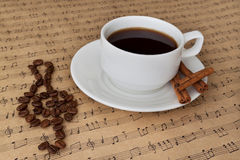 Cup of coffee on sheet music with cinnamon and beans Royalty Free Stock Image