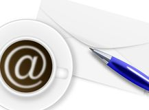 Cup of coffee with at sign, ballpoint and envelope Royalty Free Stock Images
