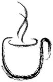 Cup of coffee silhouette. Paint of a coffee cup with hot smoke Royalty Free Stock Image