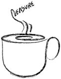 Cup of coffee silhouette. Paint of a coffee cup with hot smoke Royalty Free Stock Images