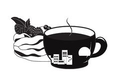 Cup of coffee and cake pavlova. Cup of coffee a silhouette, and cake pavlova royalty free illustration