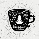 Cup of coffee silhouette with lettering coffee and yoga find balance. Cute and funny illustration with vintage sun rays. And quote for poster, t-shirt print Royalty Free Stock Images