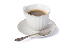 Cup of coffee with silver spoon Isolated on white Royalty Free Stock Image