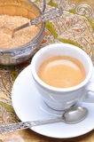 Cup of coffee and silver sugar bowl Royalty Free Stock Image