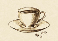 Cup Of Coffee. Sketch illustration of a cup of coffee and coffee beans Royalty Free Stock Photography