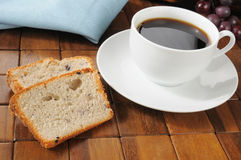 Coffee and blueberry bread Royalty Free Stock Images