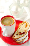 A Cup of Coffee with Slices of Christmas Stollen Stock Photos