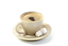 Cup coffee with slices of sugar Royalty Free Stock Image