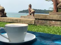 A cup of coffee somewhere in Cambodia royalty free stock photos