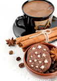 Cup of coffee with spices and sweets Stock Image