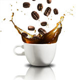 Cup of Coffee Splash Stock Photos