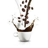 Cup of Coffee Splash Stock Photography