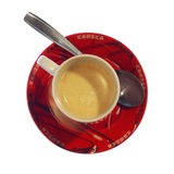 Cup of coffee with spoon Stock Photo