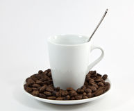 A cup of coffee with a spoon Stock Photo