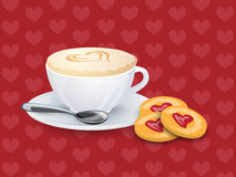 Cup with coffee, spoon and cookies on a pattern with hearts Stock Photo