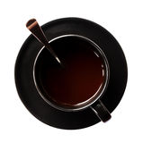 Cup of coffee with spoon Stock Photography
