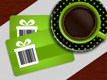 Cup of coffee with spring discount coupons lying on tablecloth Royalty Free Stock Photo