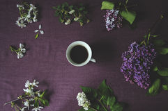 Cup of coffee and spring flowers Stock Photo
