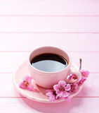 Cup of coffee and spring flowers. Peach on pink wooden table Stock Image
