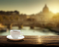 Cup of coffee and St Peter Basilica in Vatican Stock Photography