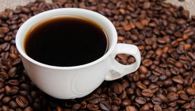Cup of coffee standing on the grains Stock Images