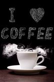 Cup of Coffee with Steam and drawed text. I love Coffee. Cup of Coffee with Steam and pencil drawed text. I love Coffee Royalty Free Stock Photo