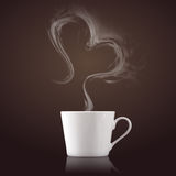Cup of coffee with steam in heart shape Stock Photos
