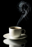 Cup of coffee with steam isolated Royalty Free Stock Photography