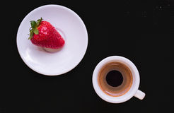 Cup of coffee and strawberry. Cup of coffee and a strawberry on dark chocolate background. Texture vector illustration