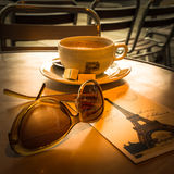 Cup of coffee on street cafe in Paris Stock Photography