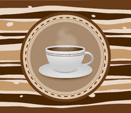 Cup of coffee stripey background Royalty Free Stock Photos