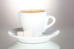 Cup of coffee and sugar Stock Photos
