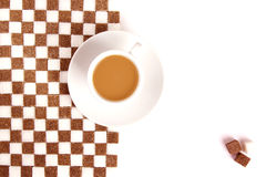 Cup of coffee with sugar. Royalty Free Stock Images