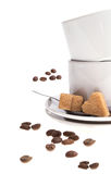 Cup of coffee and sugar. Royalty Free Stock Photos