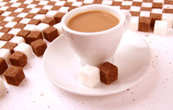 Cup of coffee with sugar. Royalty Free Stock Photos