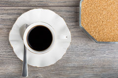 Cup of coffee and sugar bowl Royalty Free Stock Photography