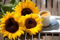 Cup of coffee, with sunflowers Royalty Free Stock Photo