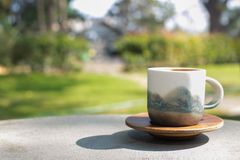 Cup coffee and sunny trees background Royalty Free Stock Photography