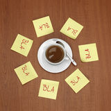 Cup of coffee surrounded by notes Royalty Free Stock Photography