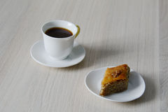 Cup of coffee with sweet baklava Stock Photo