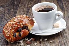 Cup of coffee and sweet buns Royalty Free Stock Photos