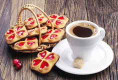 Cup of coffee and sweet cookies Stock Photography