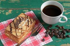 Coffee and honey cake Royalty Free Stock Image